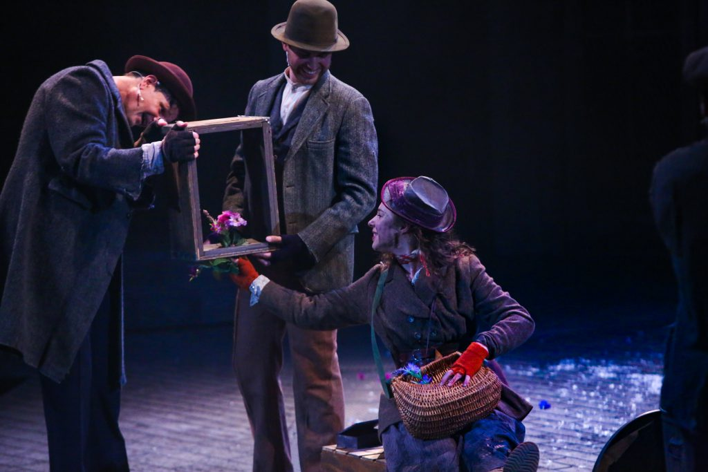 "John Allore, Carlos Alcala, and Mia Pinero in PlayMakers Repertory Company's ""My Fair Lady."" Directed by Tyne Rafaeli. Set by McKay Coble, Lighting by Masha Tsimring, Costumes by Andrea Hood. Photo by Huth Photo."