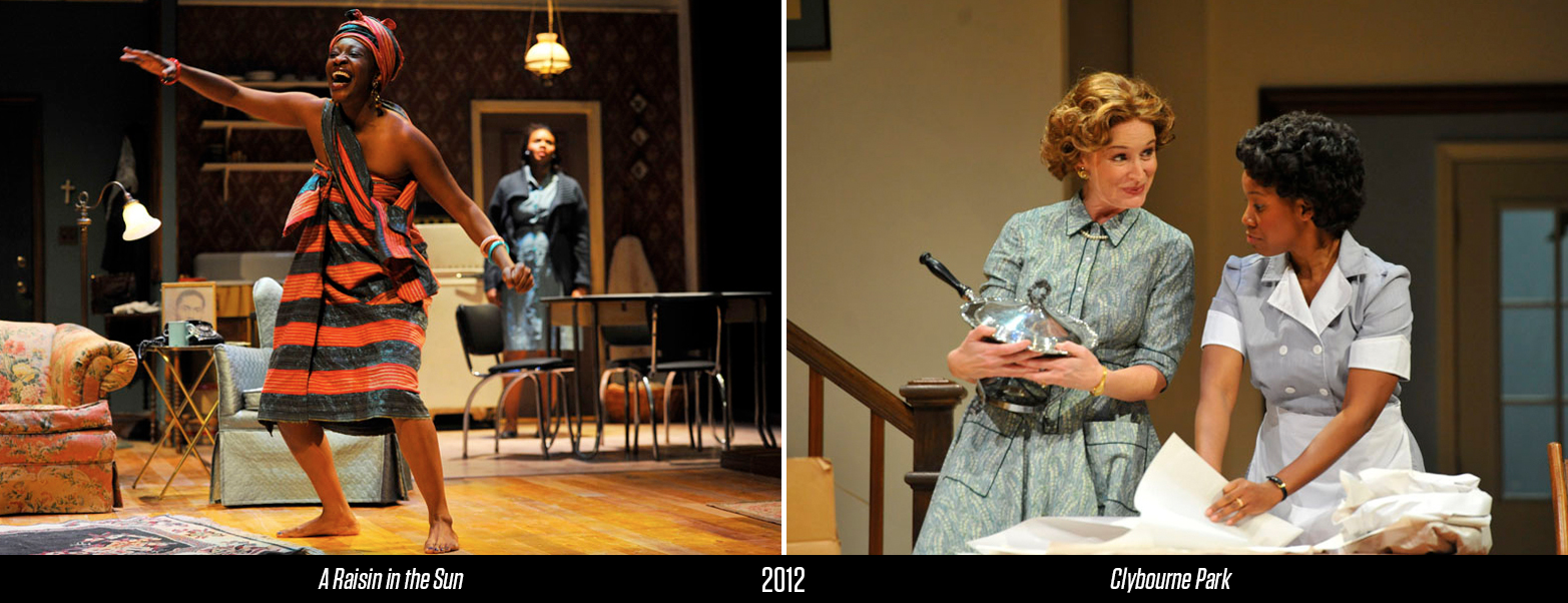 "Miriam A. Hyman as Beneatha Younger; Constance Macy as Bev and Rasool Jahan as Francine in PlayMakers Repertory Company's 2012 rotating repertory of ""A Raisin in the Sun"" and ""Clybourne Park."" Photos by Jon Gardiner."