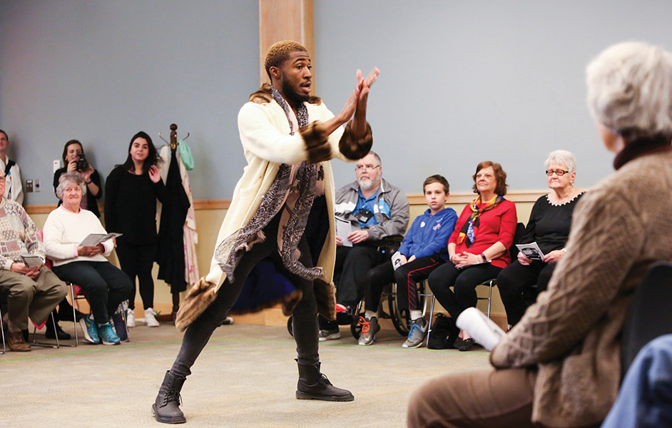 Tristan Parks leads the cast as the Chorus of 2016/17 PlayMakers Mobile's 'Measure for Measure' at the Durham County Public Library. (HuthPhoto)