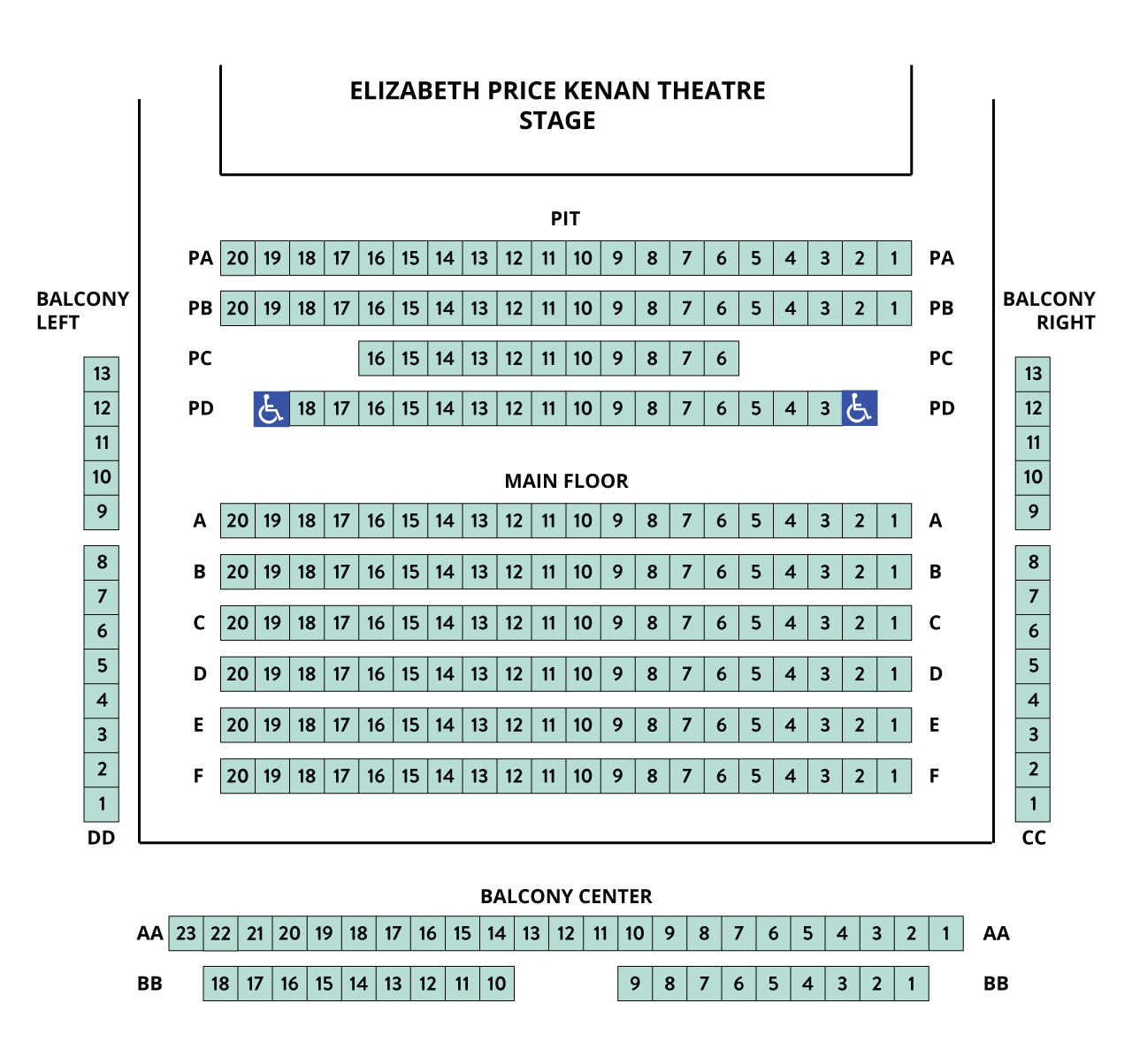 Kenan Seating Chart – auditorium style