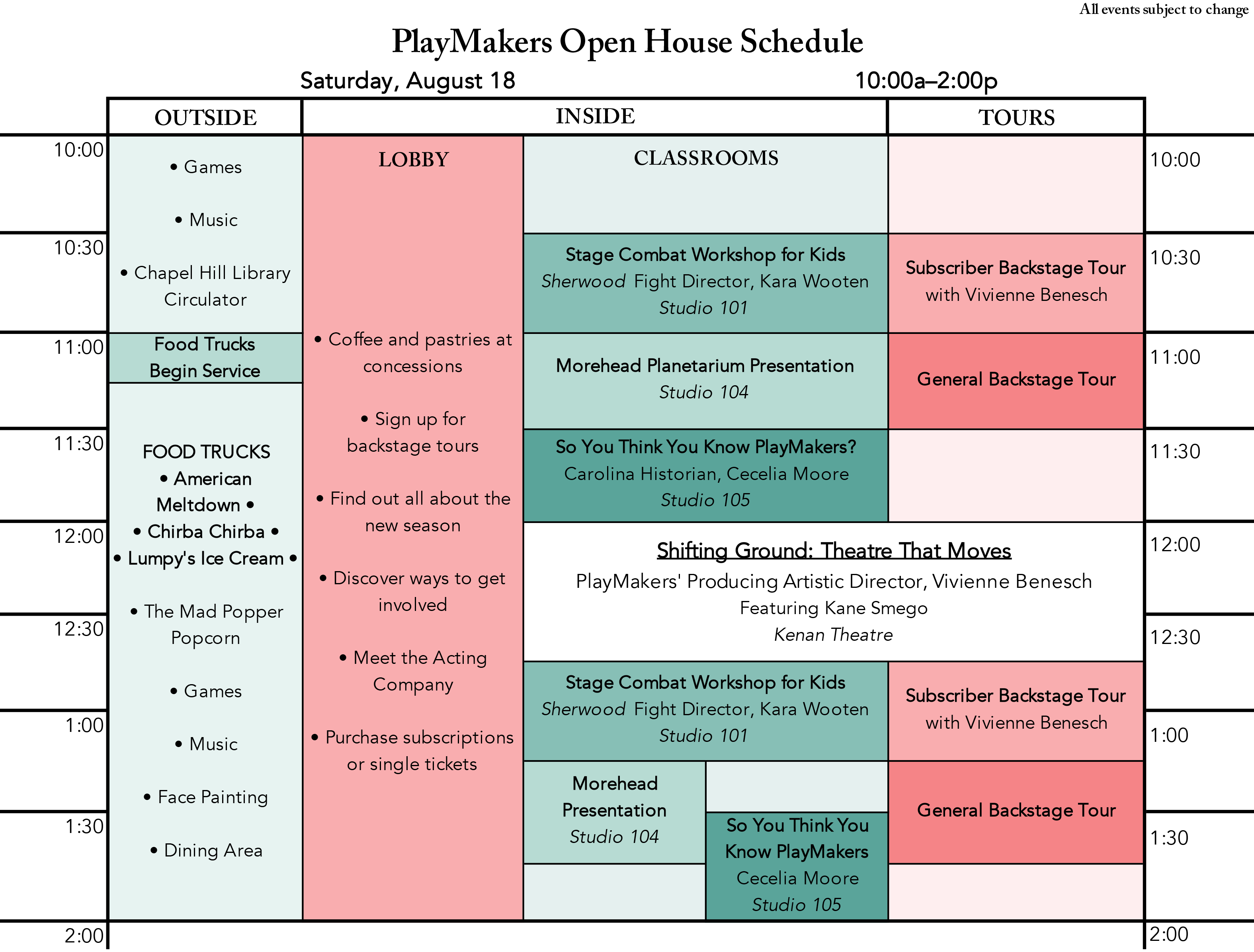 PlayMakers Open House Itinerary 2018
