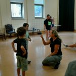 Sherwood Fight Choreographer Kara Wooten leads a children's stage combat workshop