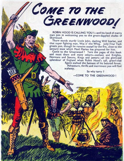 A graphic novel, pen-and-colored-ink illustration of the Robin Hood story.