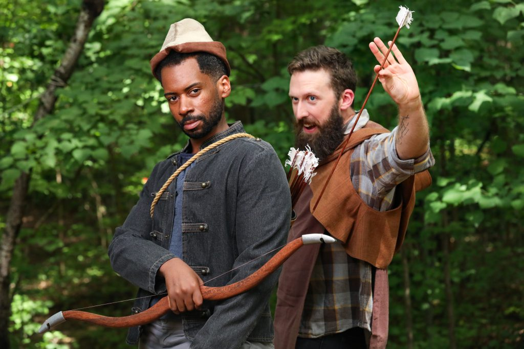 Joshua David Robinson as Robin Hood and Dan Toot as Friar Tuck. Photo by HuthPhoto.