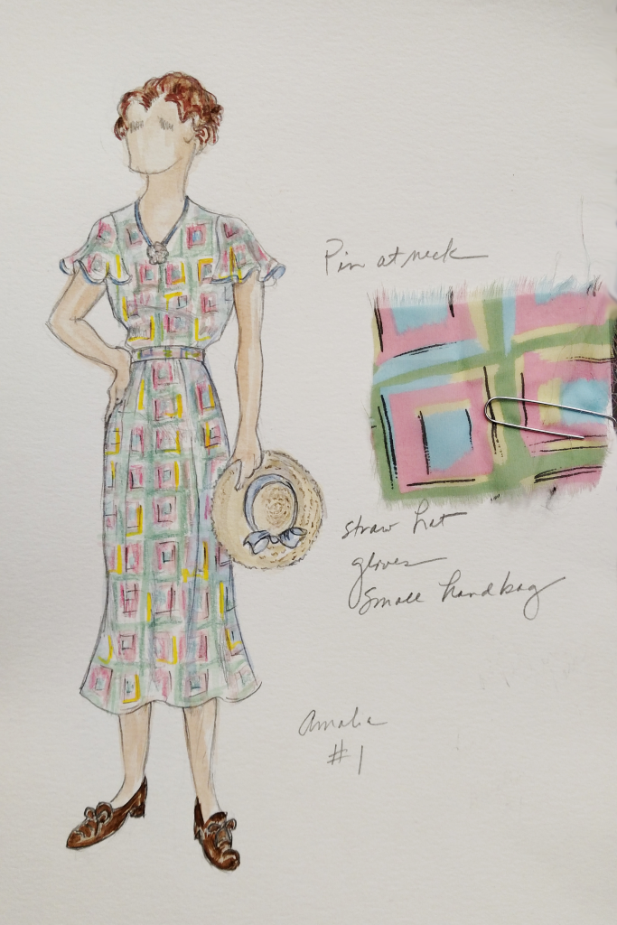 For each costume design, Bobbi Owen draws detailed sketches of each look, paying close attention to those that will be made to order, couture pieces.