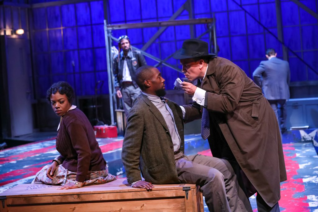"""April Mae Davis as Bessie, Brandon Herman St. Clair Haynes as Bigger Thomas, and Daniel P. Wilson as Britten with Brandon Pierce as The Black Rat in Nambi E. Kelley's """"Native Son"""" at PlayMakers Repertory Company. (HuthPhoto)"""