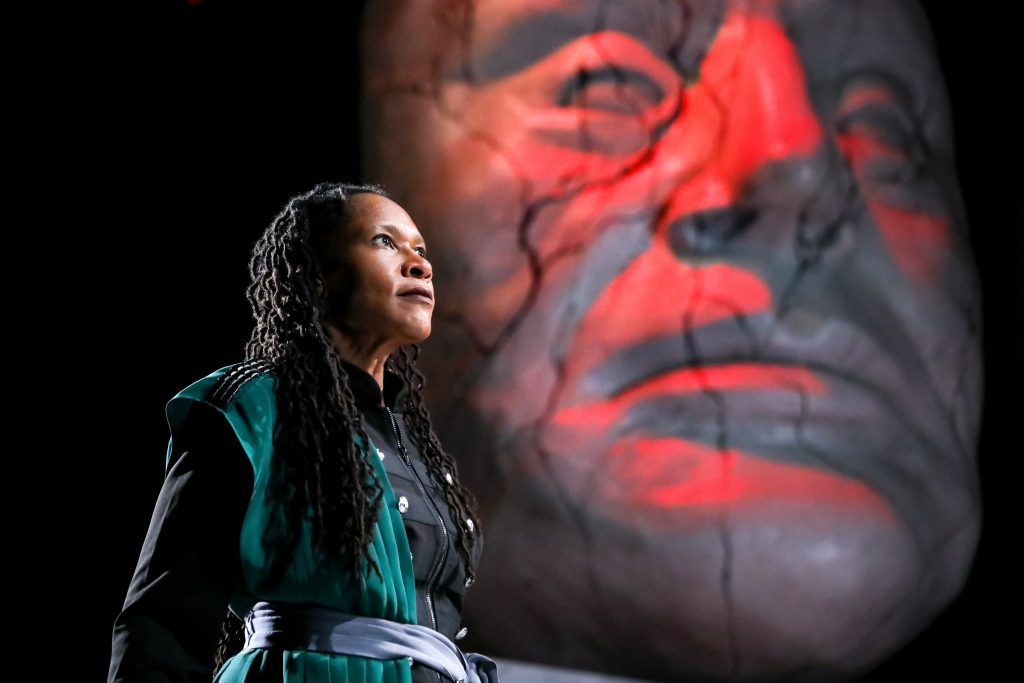 Tia James as Mark Antony in Julius Caesar at PlayMakers. By William Shakespeare. Directed by Andrew Borba. HuthPhoto.
