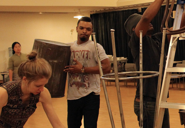 Desdemona in rehearsal for We Are Proud to Present... with Carey Cox, Myles Bullock and Genesis Oliver