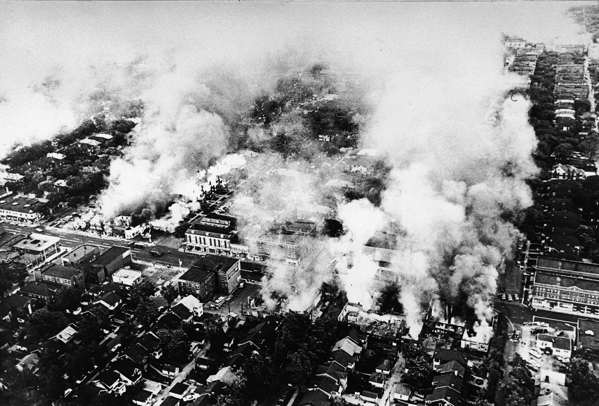 Aerial view of widespread fires started during the riots in Detroit, Michigan, July 1967. (Photo by Hulton Archive/Getty Images)
