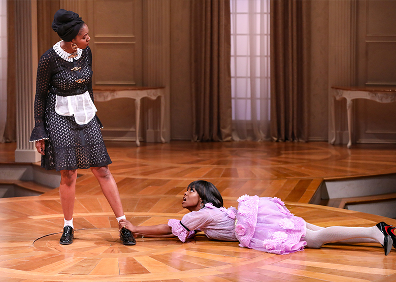 Shanelle Nicole Leonard and April Mae Davis in 'Tartuffe.' Directed by Saheem Ali. Photo by HuthPhoto.