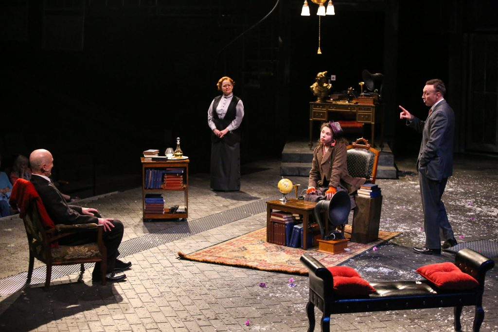 "Ray Dooley, Julia Gibson, Mia Pinero, and Jeff Cornell in PlayMakers Repertory Company's ""My Fair Lady."" Directed by Tyne Rafaeli. Set by McKay Coble, Lighting by Masha Tsimring, Costumes by Andrea Hood. Photo by Huth Photo."