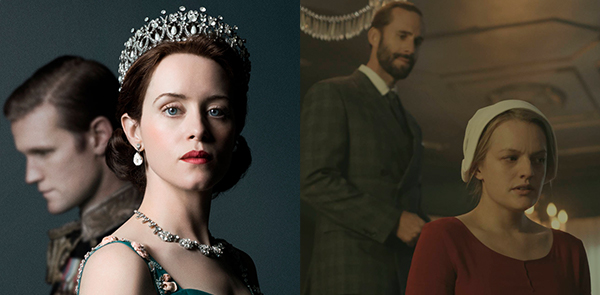 "L to R: Matt Smith as Prince Phillip and Claire Foy as Queen Elizabeth II on Netflix's ""The Crown."" Joseph Fiennes as The Commander and Elisabeth Moss as Offred in Hulu's ""The Handmaid's Tale."""