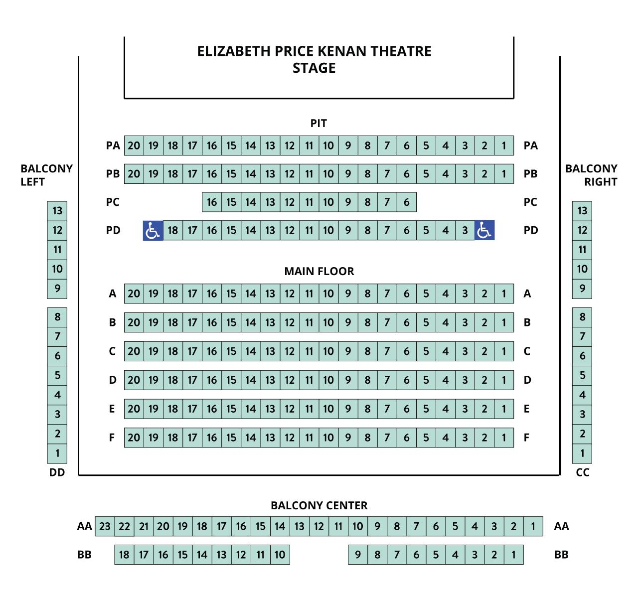 Kenan Seating Chart – auditorium style