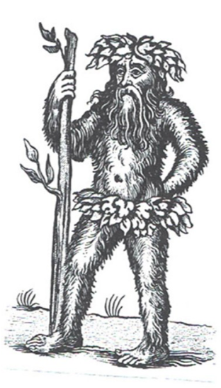 A woodcut image of a mythical Wildman of medieval Europe.