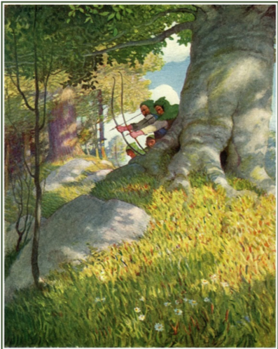 Robin Hood and his Merry Men take aim at the rich in Sherwood Forest. N.C. Wyeth, 'Robin Hood,' 1917.