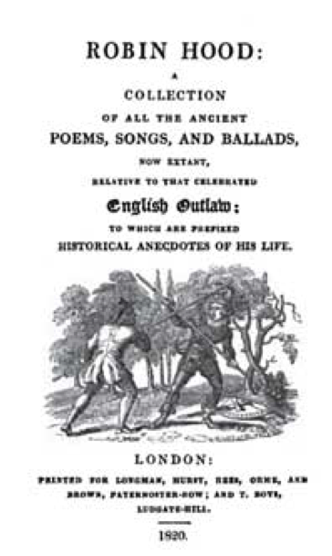 Title page of a rural Robin Hood tale from a British compilation.