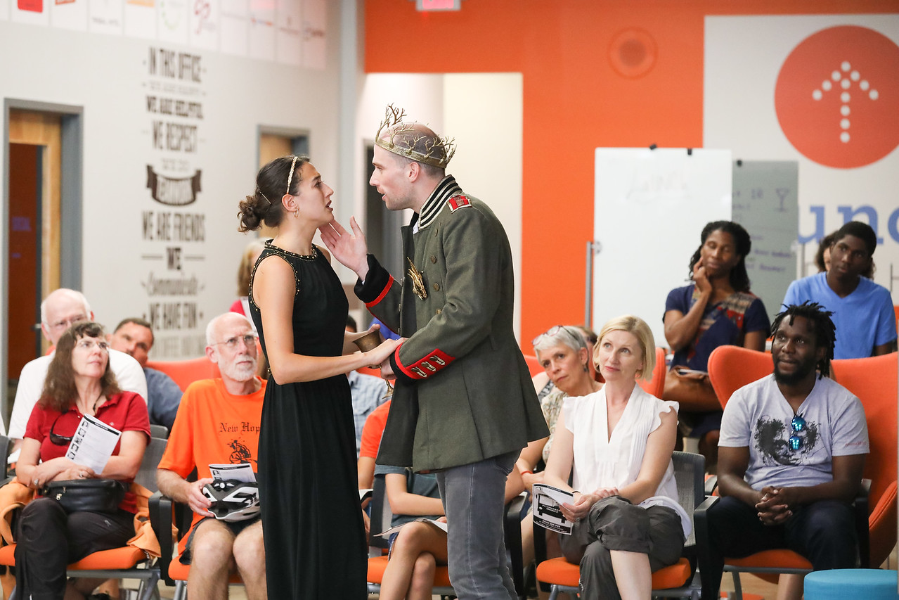 Emily Bosco and Geoff Culbertson star as Lady and Laird Macbeth in PlayMakers Mobile's 2018/19 'Macbeth' at Launch Chapel Hill. (HuthPhoto)