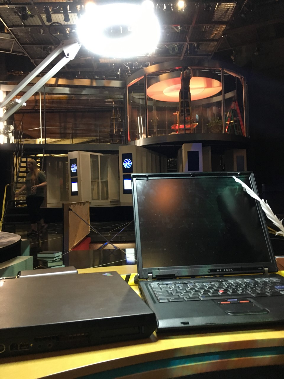 One of the desks featured in 'Life of Galileo' waits downstage for placement while our tech crew readies other scenic elements for the evening's tech rehearsal.