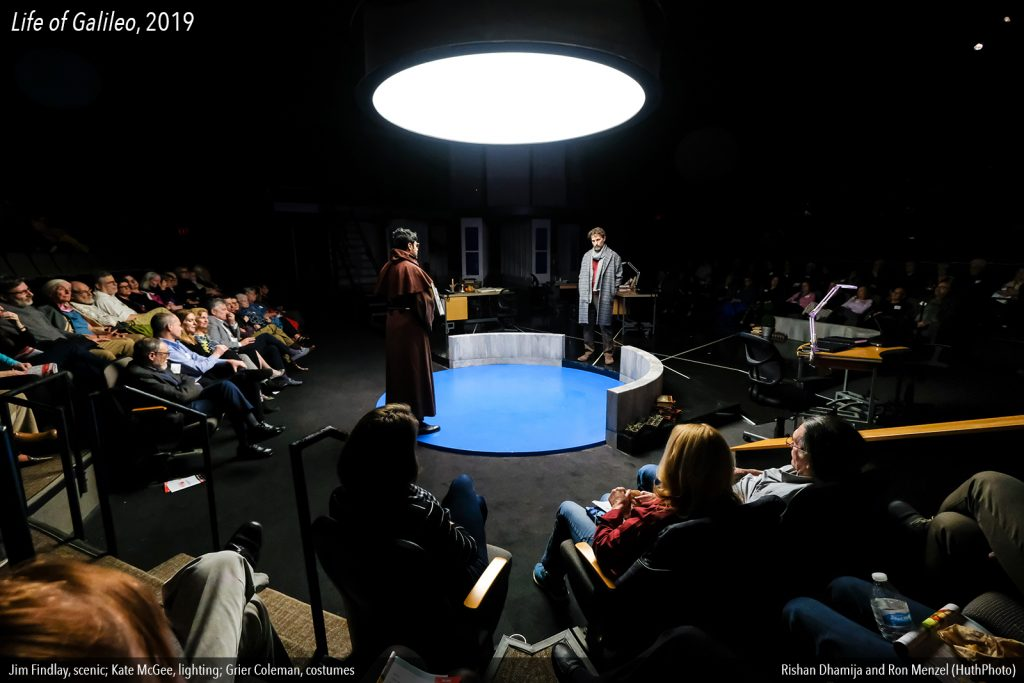 A photo of the PlayMakers production of 'Life of Galileo' that shows just how intimate the Paul Green Theatre can be.