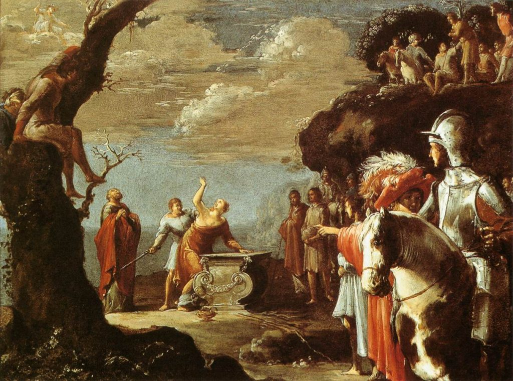 """Agamemnon sacrifices his daughter, Iphigenia, to free his army to sail for Troy. Detail from """"The Sacrifice of Iphigenia"""" by Leonaert Bramer (1596-1674)"""
