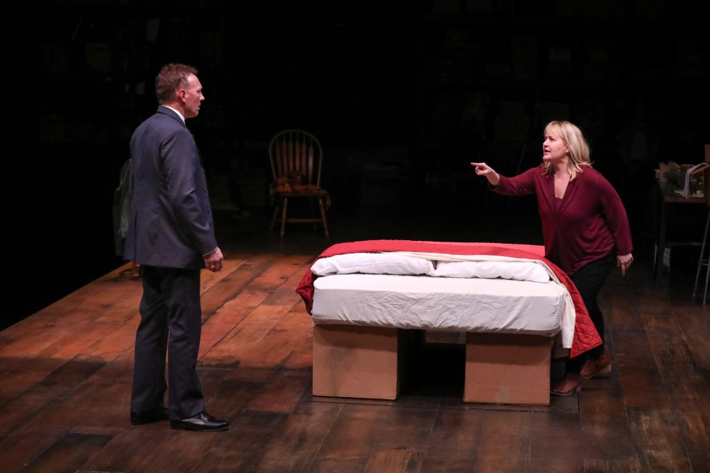 """Jeffrey Blair Cornell and Julia Gibson in """"How I Learned to Drive"""" at PlayMakers Repertory Company in 2019. (Photo by HuthPhoto)"""