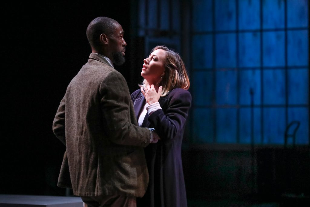 "Brandon Herman St. Clair Haynes as Bigger Thomas and Sarah Elizabeth Keyes as Mary Dalton in Nambi E. Kelley's ""Native Son"" at PlayMakers Repertory Company. (HuthPhoto)"
