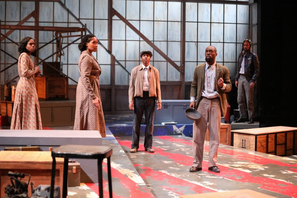 "April Mae Davis as Vera Thomas, Tia James as Hannah, Amadio as Buddy, Brandon Herman St. Clair Haynes as Bigger Thomas, and Brandon Pierce as The Black Rat in Nambi E. Kelley's ""Native Son"" at PlayMakers Repertory Company. (HuthPhoto)"