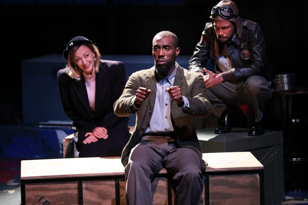 "Brandon Herman St. Clair Haynes as Bigger Thomas with Sarah Elizabeth Keyes and Brandon J. Pierce as Mary Dalton and The Black Rat in Nambi E. Kelley's ""Native Son"" at PlayMakers Repertory Company. (HuthPhoto)"