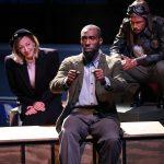 "Brandon Herman St. Clair Haynes as Bigger Thomas with Sarah Elizabeth Keyes and Brandon J. Pierce as Mary Dalton and The Black Rat in Nambi E. Kelley's ""Native Son"" at PlayMakers Repertory Company. (HuthPhoto)"