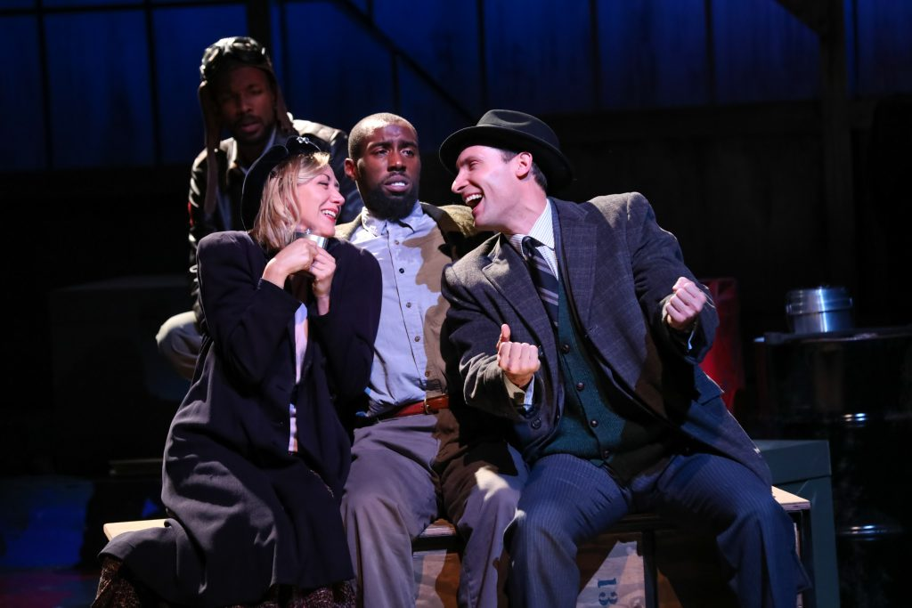 "Sarah Elizabeth Keyes as Mary Dalton, Brandon Herman St. Clair Haynes as Bigger Thomas, and Adam Poole as Jan with Brandon J. Pierce as The Black Rat in Nambi E. Kelley's ""Native Son"" at PlayMakers Repertory Company. (HuthPhoto)"