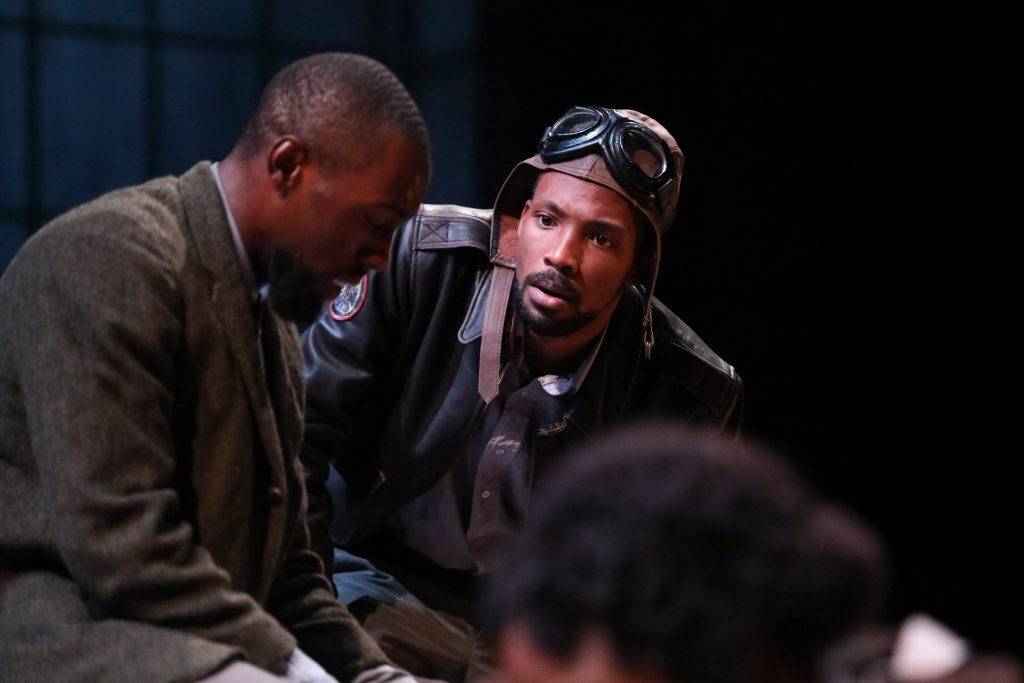 "Brandon J. Pierce as The Black Rat with Brandon Herman St. Clair Haynes as Bigger Thomas in Nambi E. Kelley's ""Native Son"" at PlayMakers Repertory Company. (HuthPhoto)"