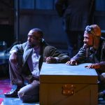"Brandon Herman St. Clair Haynes and Brandon J. Pierce as Bigger Thomas and The Black Rat in Nambi E. Kelley's ""Native Son"" at PlayMakers Repertory Company. (HuthPhoto)"