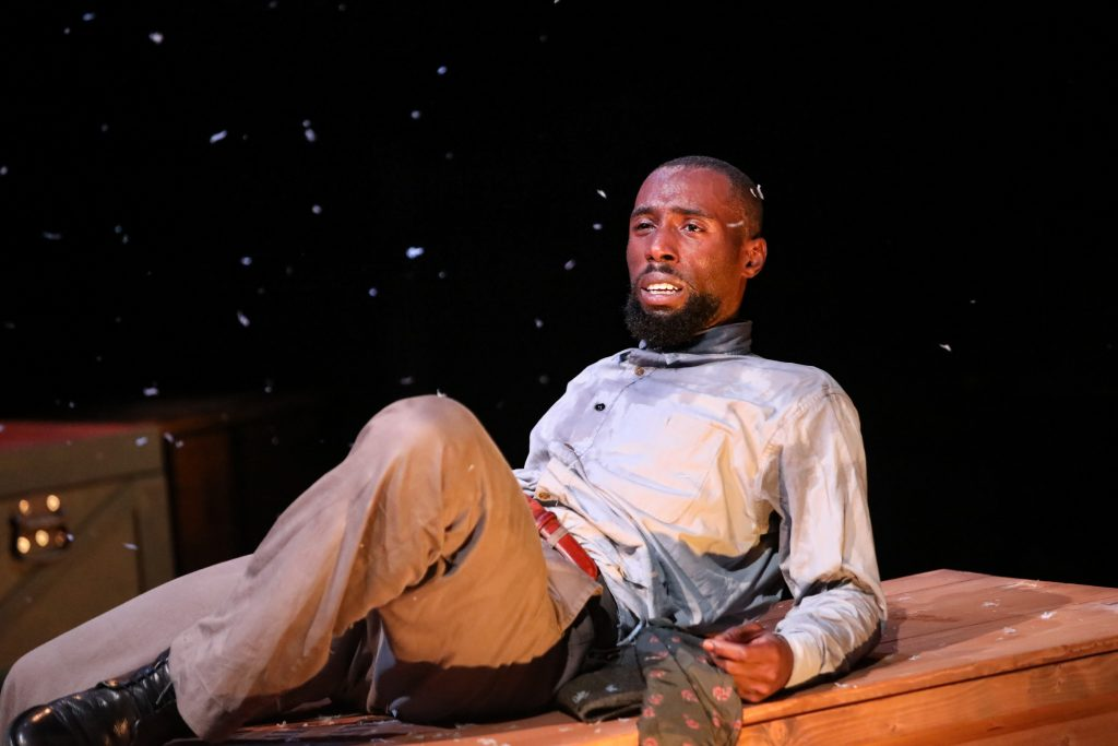 "Brandon Herman St. Clair Haynes as Bigger Thomas in Nambi E. Kelley's ""Native Son"" at PlayMakers Repertory Company. (HuthPhoto)"