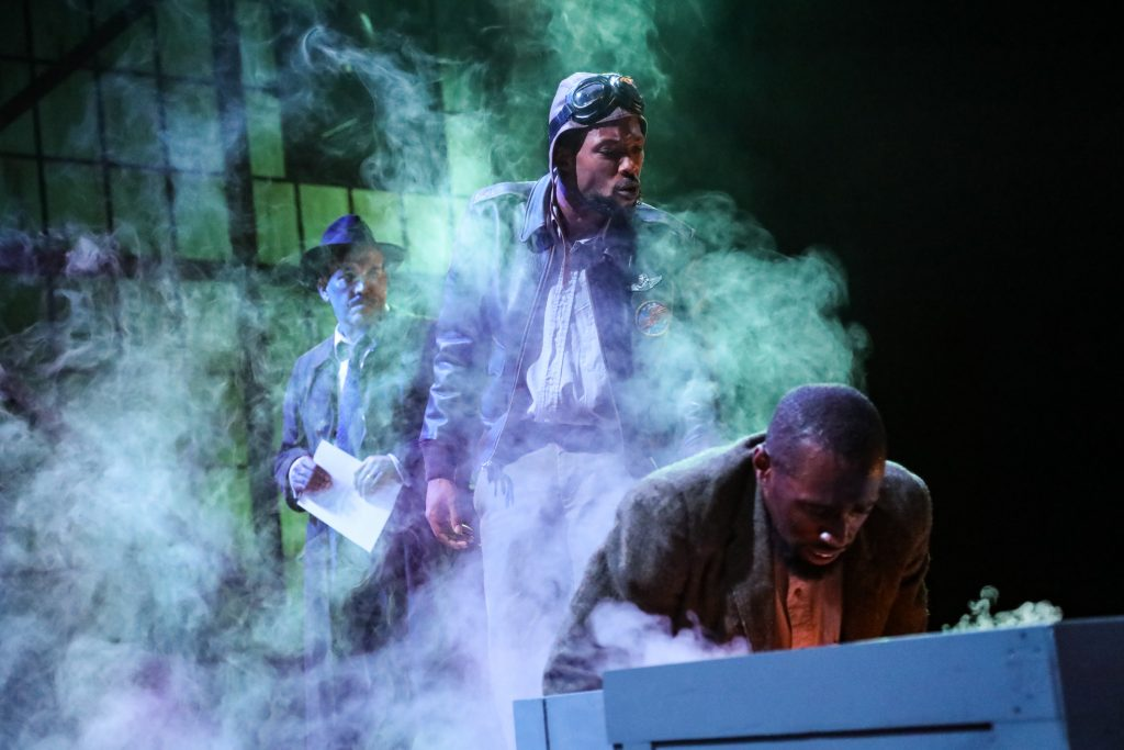 "Daniel P. Wilson as Britten, Brandon J. Pierce as The Black Rat, and Brandon Herman St. Clair Haynes as Bigger Thomas in Nambi E. Kelley's ""Native Son"" at PlayMakers Repertory Company. (HuthPhoto)"