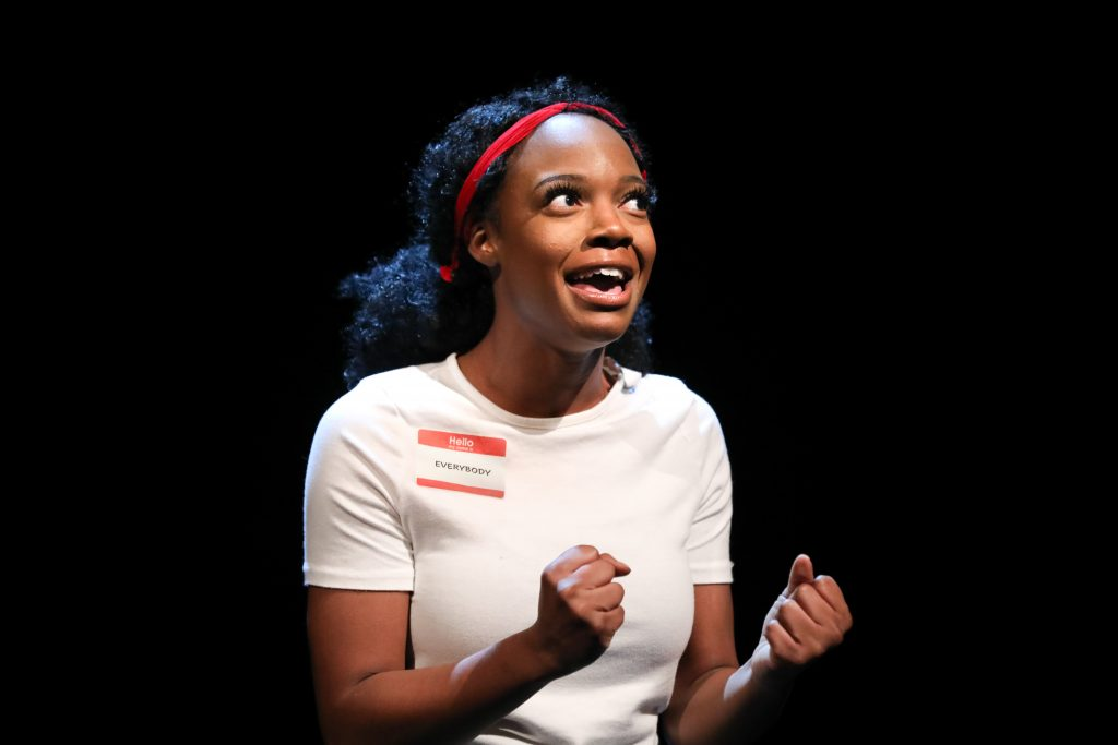 April Mae Davis as the title character in EVERYBODY at PlayMakers. By Branden Jacobs-Jenkins. Directed by Orlando Pabotoy. HuthPhoto.