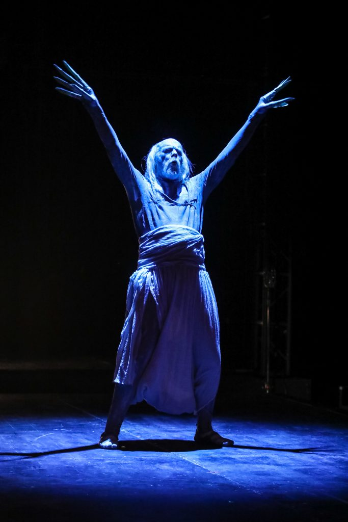 David Adamson as Death in EVERYBODY at PlayMakers. By Branden Jacobs-Jenkins. Directed by Orlando Pabotoy. HuthPhoto.