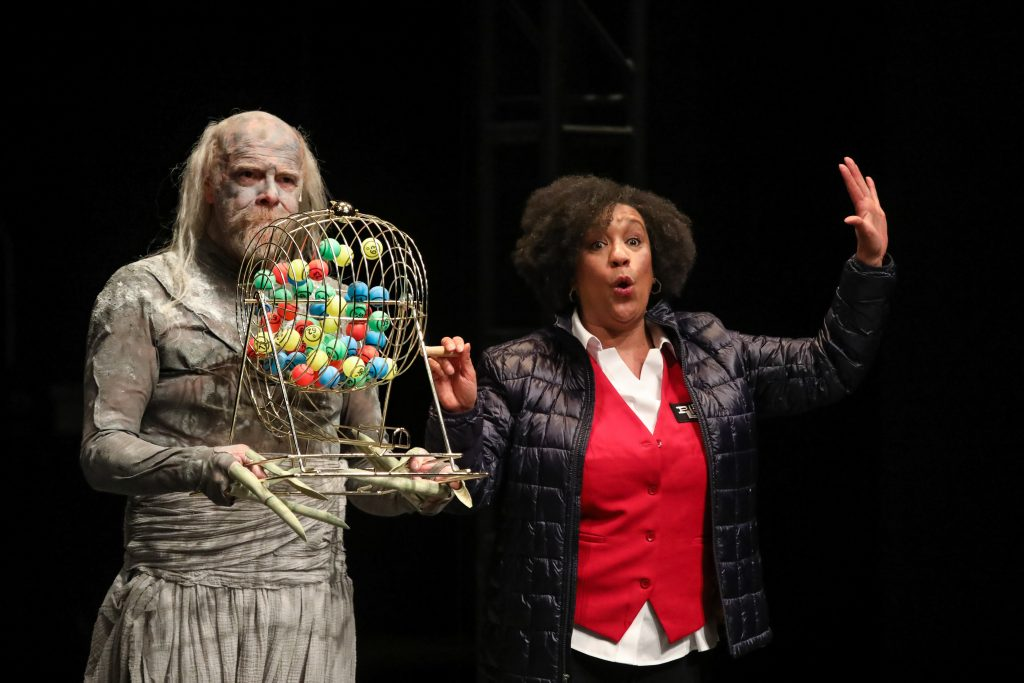 Kathryn Hunter-Williams with David Adamson as Death in EVERYBODY at PlayMakers. By Branden Jacobs-Jenkins. Directed by Orlando Pabotoy. HuthPhoto.