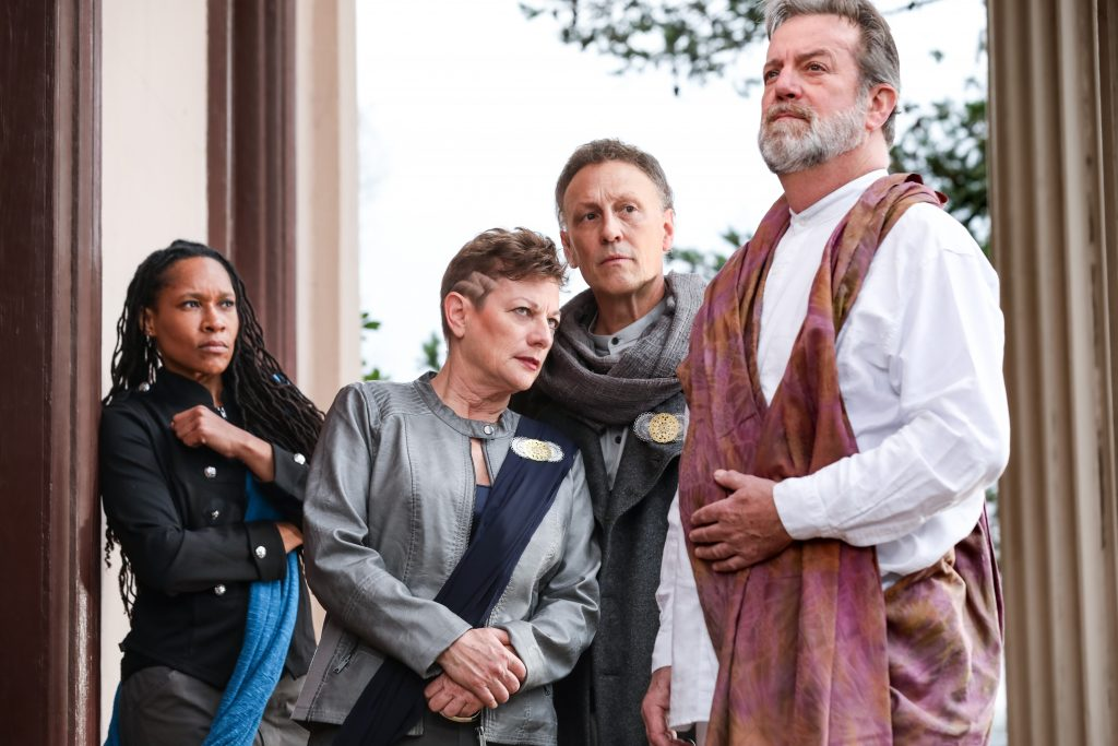 01_Tia James as Mark Antony, Lisa Wolpe as Cassius, Jeffrey Blair Cornell as Brutus, C. David Johnson as Caesar_HuthPhoto