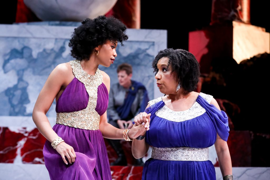 AhDream Smith as Caphurnia and Kathryn Hunter-Williams as Portia, with Lisa Wolpe as Cassius in Julius Caesar at PlayMakers. By William Shakespeare. Directed by Andrew Borba. HuthPhoto.