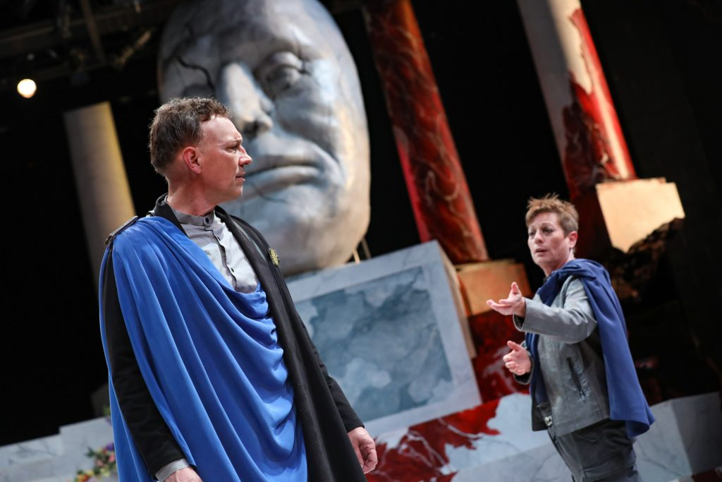 Brutus and Cassius in Julius Caesar at PlayMakers. By William Shakespeare. Directed by Andrew Borba. HuthPhoto.