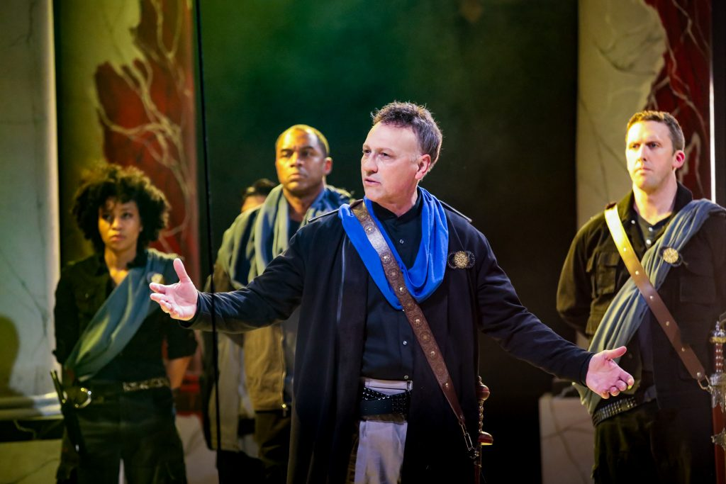Jeffrey Blair Cornell as Brutus with (left to right) AhDream Smith, Samuel Ray Gates and Dan Toot in Julius Caesar at PlayMakers. By William Shakespeare. Directed by Andrew Borba. HuthPhoto.