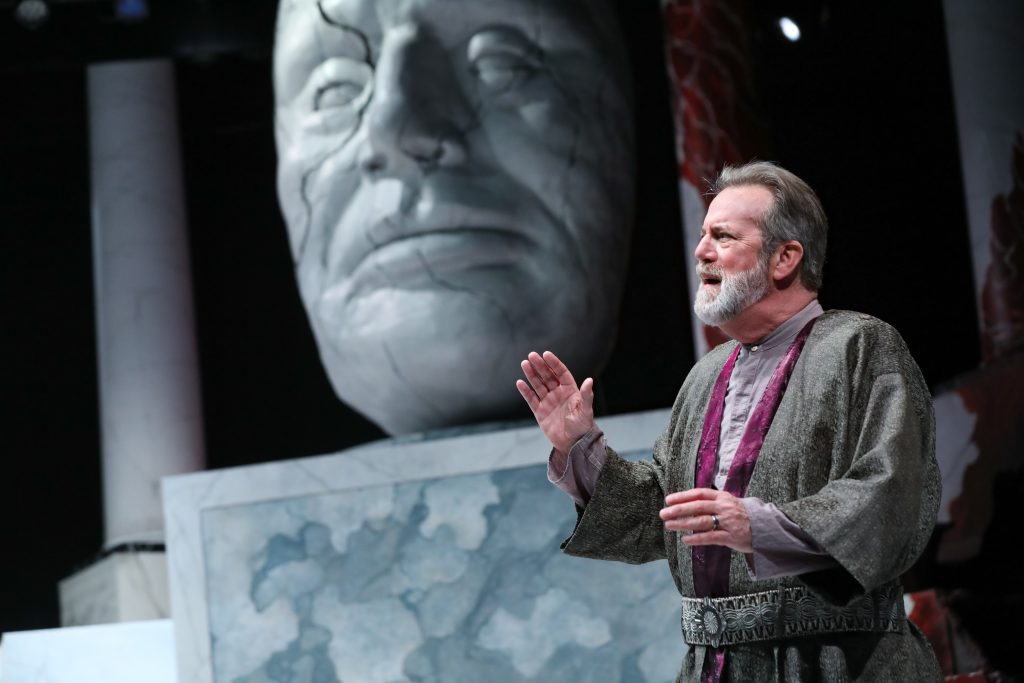 C.David Johnson as Julius Caesar in  Julius Caesar at PlayMakers. By William Shakespeare. Directed by Andrew Borba. HuthPhoto.
