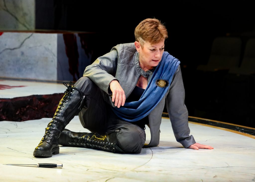 Lisa Wolpe as Cassius in Julius Caesar at PlayMakers. By William Shakespeare. Directed by Andrew Borba. HuthPhoto.
