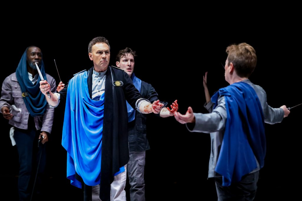 Brandon Herman St.Clair Haynes, Jeffrey Blair Cornell as Brutus, Dan Toot and Lisa Wolpe as Cassius in Julius Caesar at PlayMakers. By William Shakespeare. Directed by Andrew Borba. HuthPhoto.
