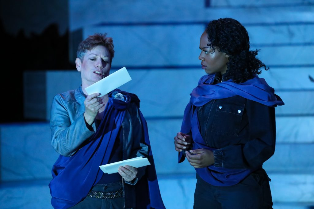 Lisa Wolpe as Cassius and April Mae Davis in Julius Caesar at PlayMakers. By William Shakespeare. Directed by Andrew Borba. HuthPhoto.