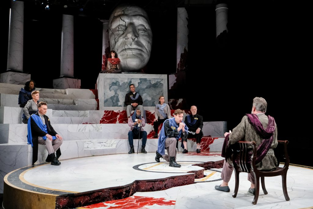 The cast of Julius Caesar in Julius Caesar at PlayMakers. By William Shakespeare. Directed by Andrew Borba. HuthPhoto.